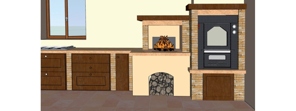 progetto forno a legna da incasso con camino